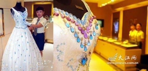 9,999 carats of gems wedding gown