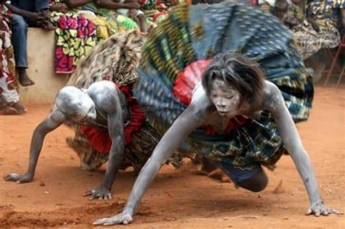 Voodoo dancers possessed by the voodoo spirit