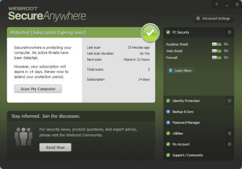 Webroot SecureAnywhere Tool
