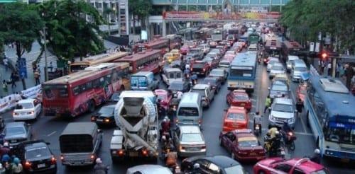 London, UK - traffic congested city