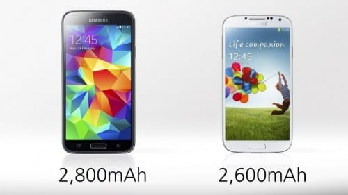 Samasung Galaxy S5 vs S4 battery time difference