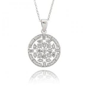 Finesque Sterling Silver Diamond Accent Medallion Necklace