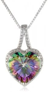 Sterling Silver and Mystic Fire Topaz Diamond-Accented Heart Pendant Necklace