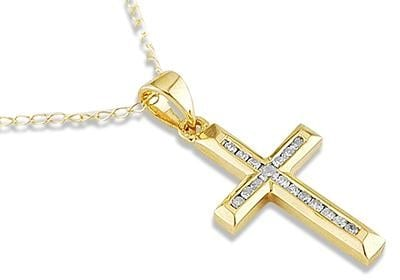 Top 10 best diamond necklace for women in 2018 yellow gold diamond cross pendant aloadofball Image collections