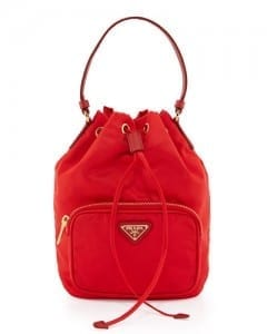 Prada Tessuto Mini Bucket Crossbody Bag, Red (Rosso)