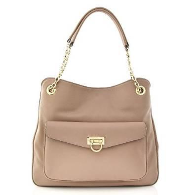 Salvatore Ferragamo Leather Beige Gold Handbag
