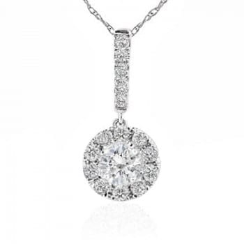 Diamonds Studs Halo Stick Pendant with Chain Necklace