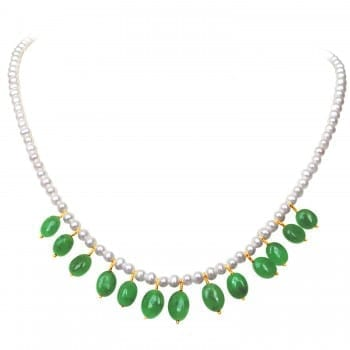 The Diamond and Pearl Green Necklace